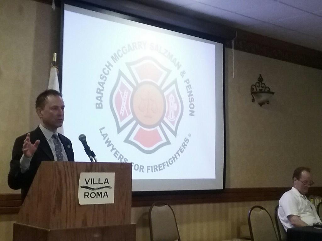 Michael Barasch addressing the delegates at the Uniformed Fire Officers Association (UFOA) Education Seminar
