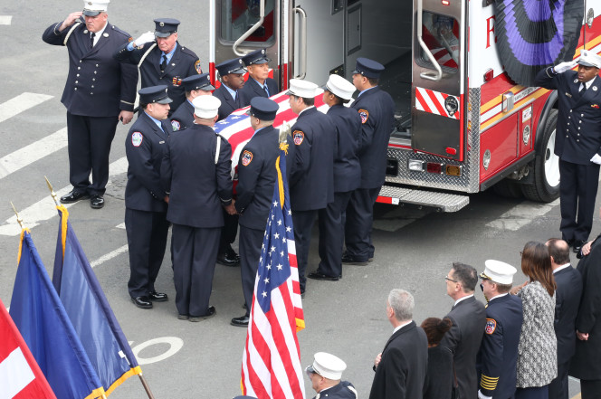 The funeral for EMT Yadira Arroyo held in March in the Bronx, New York