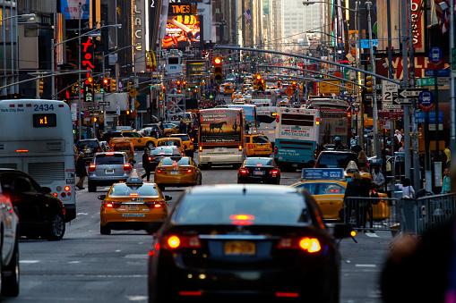 Traffic on New York 7nd Avenue, USA
