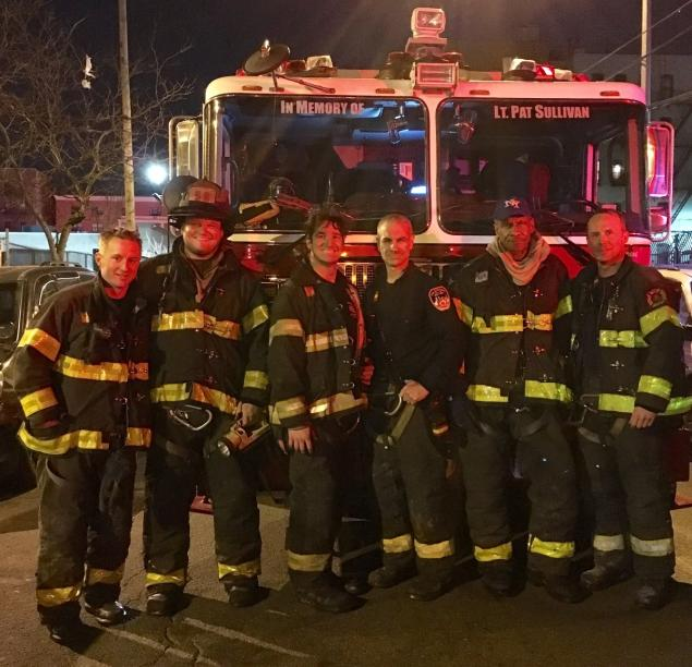 Heroic FDNY members with Ladder Company 58 – Firefighter Ryan R. Bourke, Lieutenant Andrew B. Bowman, Firefighter Christopher J. Reilly, Firefighter John P. Daly Jr., Firefighter William H. Smith, Firefighter Thomas J. Wutz Jr. – relax after rescuing a man from Crotona Park apartment on April 6, 2016. COURTESY FDNY